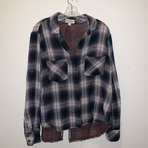 NWOT Cloth & Stone Plaid Botton Up Fringe Blouse